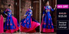 Royal Blue and Hot Pink Pure Georgette Designer Anarkali Lehenga   Designer dreams are made of this stunning blue #AnarkaliLehenga. #BeautifulYou #Discount #Lashkaraa #ShopOnline  Shop At: https://www.lashkaraa.com/royal-blue-and-hot-pink-pure-georgette-designer-anarkali-lehenga.html
