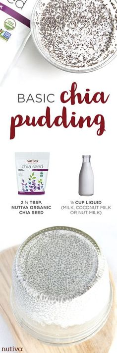 How to Make Chia Pudding. Learn how to make a basic chia pudding with just 2 ingredients. Whole Food Recipes, Vegan Recipes, Cooking Recipes, Recipes Dinner, Healthy Treats, Healthy Desserts, Healthy Lunches, Healthy Food, Healthy Eating