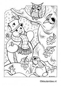 Kleurplaat sneeuwpop,forest , kleuteridee.nl , winter snowman preschool coloring