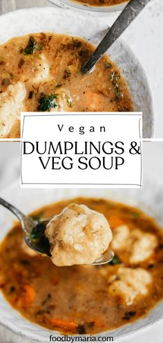 Nothing says comfort food more than a big bowl of vegetable soup with vegan dumplings. Its healthy its warming its easy (yes dumplings can be easy) and itll become one of your winter go-to recipes. Vegan Dinner Recipes, Veggie Recipes, Whole Food Recipes, Vegetarian Recipes, Cooking Recipes, Healthy Recipes, Vegan Recipes Vegetables, Great Vegan Recipes, Vegetarian Comfort Food