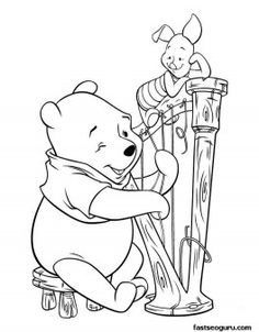 Printable coloring pages Winnie the Pooh and Piglet play guitar - Printable Coloring Pages For Kids