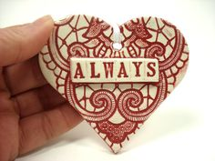 Always Heart Ornament Ceramic Lace Heart Favor by MagicMoonPottery, $14.00