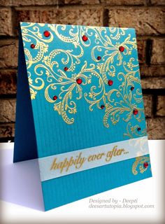 handmade wedding card from Dee's Art Utopia ...sumptuous turquoise card base with gold filgré embossing and red sparkly jewels ... one layer gorgeous ...