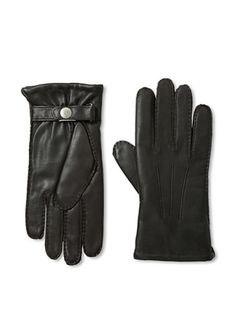 70% OFF Portolano Men's Lined Snap Leather Gloves (Brown)