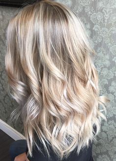 Beautiful platinum blonde hair, painted hair, balayage highlights, balayage ombre, light blonde hair, beauty, waves, curls, pale blonde, platinum hair, blonde hair color ideas, healthy blonde, olaplex