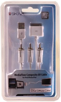Skiva MediaFlow Composite Video / AV Cable with USB Sync/Charge for iPhone 4S 4, iPad 3, iPad 2, iPhone, iPad & iPod