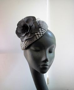 Womens Cocktail Hat Black and White Plaid Flower by MindYourBonce, £65.00