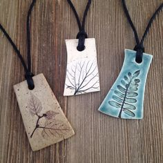 Love these nature pottery necklaces