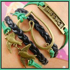 $5.50 Womens Green & Black 2 Flying Birds Dream & Heart Charm Multi Layered Wrap Bracelet - Handcrafted, Artisan Jewelry @BonanzaMarket