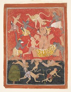 The Demon Kumbhakarna Is Defeated by Rama and Lakshmana, ca. 1670. Indian. The Metropolitan Museum of Art, New York. Gift of George W. Bahlke, 2001 (2001.541) #Halloween