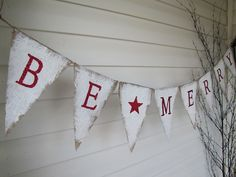 BE MERRY Burlap Christmas Banner Holiday Banner by funkyshique