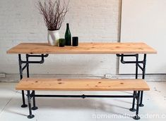 Wood and Iron Table   Best Home Depot Hacks and Homesteading Tips & Tricks at http://pioneersettler.com/home-depot-hacks-homesteading-tips-tricks