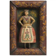 "Folk Art Sculpture of a Dancing Lady, Hand Carved Wood with Original Painted Decoration, European Naive School, 15 ¼"" high x 10 ¼"" wide x deep . Trumeau, Primitive Folk Art, Arte Popular, Art Archive, Little Doll, Assemblage Art, Naive Art, Folklore, Outsider Art"