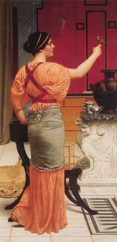 """""""Lesbia y su jilguero"""" de John William Godward. los poemas más memorables de Catulo son los dedicados a Lesbia. Lesbia era la mujer de sus amores y la musa de su poesía, no sabemos si real (Clodia, una de las hermanas de Publio Clodio) o de ficción."""