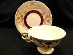 Gorgeous Maroon Gold Gilt Tea Cup Saucer Japan Shafford