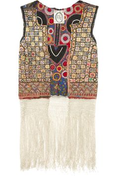 """""""Inspired by global travel, One Vintage's embroidered cotton-blend vest is beautifully eclectic. Bohemian edge."""