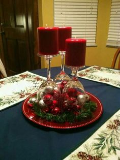 Top your Christmas table with a quick, easy and festive holiday centerpiece. Christmas Centerpiece Decoration Ideas Please enable JavaScript to view the comments powered by Disqus. Christmas Projects, Christmas Holidays, Christmas Wreaths, Christmas Crafts, Gold Christmas, Christmas Candles, Christmas Ideas, Christmas Wrapping, Christmas Glasses