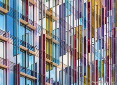 Park Plaza Hotel coloured glass facade, Westminster Bridge London. Built 2010, Architect: BUJ architects,