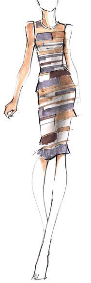 Designer Sketch by Hervé Léger - PANTONE Paloma - Spring 2014 Pantone Fashion Color Report #FCRS14 #pantone @Gerry L L Wellington Leger by Max Azria