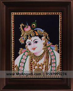 Face Krishna Tanjore Painting  Call us or Whatsapp @ 9597999274 #TanjorePainting #Painting #MyAngadi