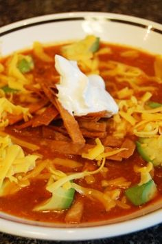 Tortilla Soup... I did this recipe but added a can of corn and diced tomatoes for more chunk to my soup. Loved it!