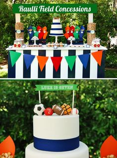 """Sports Theme Birthday Party Ideas - Concession Stand Dessert Table themed birthday party ideas """"Let's Play Ball"""" Sports Party {Boys Birthday #Play #party #- Sports Party Favors, Sports Themed Birthday Party, Ball Birthday Parties, Birthday Party Decorations, Boy Birthday, Birthday Ideas, Ball Theme Birthday, Birthday Bunting, Birthday Cakes"""