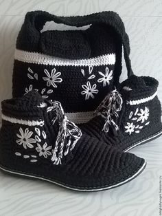 Купить комплект сумочка и ботинки - чёрно-белый, обувь на заказ, обувь ручной работы
