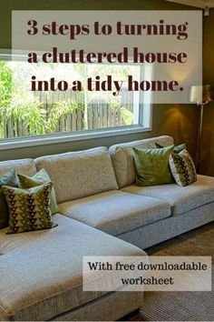 Learn how to save time, save money and save yourself stress by using these 3 simple steps to declutter your home. Download your free printable worksheet and get started straight away. www.lifewrangling... #declutteryourhome