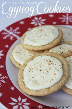 Eggnog Cookies Recipe on Frugal Coupon Living - Perfect Dessert for Adults during the Holiday Season. Chirstmas, Thanksgiving, Cookie Exchanges.