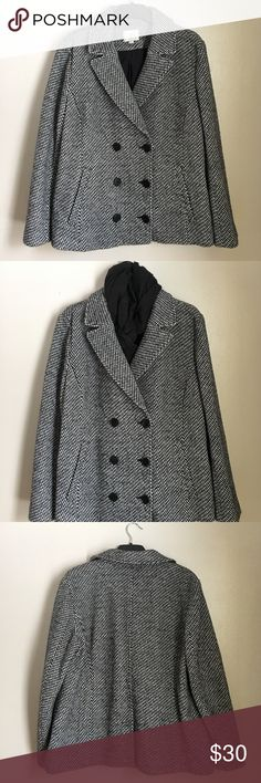 Ann Taylor LOFT black and white Pea Coat Three button XXL Wool Blend Peacoat, perfect condition. Worn a few times for social occasions. Scarf not included. Has 2 Mock pockets on front for appearance of pockets. Buy with confidence. LOFT Jackets & Coats Pea Coats