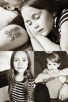 Dad has tattoos of his kids' names; family pictures featuring them together.