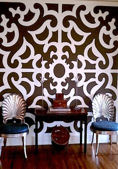 my living room. wall stencil painted by Jay Johnstone.
