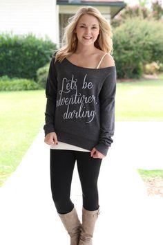 Let's be adventurers darling Sweatshirt - Charcoal | Hazel & Olive