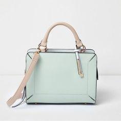 River Island Mint green boxy mini tote bag