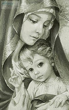 of God (Sepia) Mother of God Sepia - cross stitch pattern designed by Tereena Clarke.Mother of God Sepia - cross stitch pattern designed by Tereena Clarke. Religious Pictures, Jesus Pictures, Blessed Mother Mary, Blessed Virgin Mary, Catholic Art, Religious Art, Jesus Art, Mary And Jesus, Madonna And Child