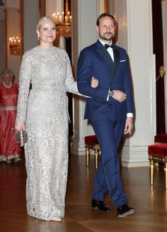 February 1, 2018 ~ Crown Princess Mette-Merit and Crown Prince Haakon of Norway are pictured at the formal dinner at the Norwegian Royal Palace.