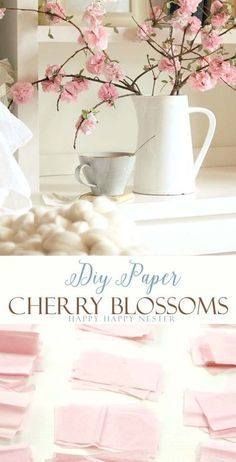 Make these easy DIY paper cherry blossom flowers. They look so real and you'll love these flowers for years to come. This craft is so inexpensive to make and is easy as well.