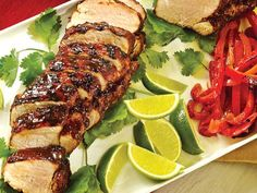 A Mexican Fiesta this menu perfect for entertaining or a weeknight fiesta! Tequila Lime Grilled Pork with Peppers & Onions Crockpot Recipes, Yummy Recipes, Yummy Food, Mexican Food Recipes, Ethnic Recipes, Grilled Pork, White Meat, Peppers And Onions, Crock Pot