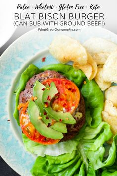 For a quick and easy #Whole30 weeknight meal, make this juicy and flavorful BLAT Bison Burger! (#glutenfree #paleo #keto #lowcarb #dairyfree #grainfree) via @whatggmaate