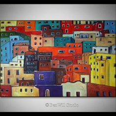 ORIGINAL Art Mexican Painting by Artist BenWill, Artwork of colorful abstract Mexico, modern house art in Guanajuato Mexico painting, 60x40, Mexico