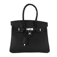 Wholesale Réplique Hermes Birkin 25CM sacs fourre-tout en cuir noir  d origine Silv 89193f38c99