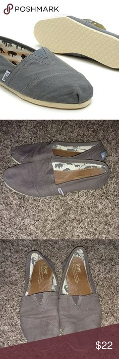Tom's Gray Canvas Shoes Tom's gray canvas shoes. Size 8 TOMS Shoes Flats & Loafers
