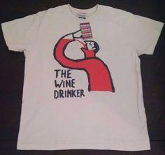 Palmer Cash Mens T-shirt XL Tan The Wine Drinker Man Drinking New #PalmerCash #GraphicTee