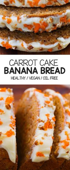 soft and moist homemade carrot cake banana bread recipe, perfect for breakfast or a healthy dessert! Vegan, gluten freeDeliciously soft and moist homemade carrot cake banana bread recipe, perfect for breakfast or a healthy dessert! Carrot Banana Cake, Homemade Carrot Cake, Healthy Carrot Cakes, Healthy Banana Bread, Carrot Recipes, Banana Bread Recipes, Healthy Sweets, Vegan Carrot Recipe, Gluten Free Carrot Cake