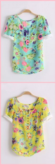 Sweet Floral Print Chiffon Shirt