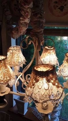 Something to do with lace and dress up lamp shades...