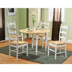 Rush Seat 5 Piece Dining Set, White And Natural
