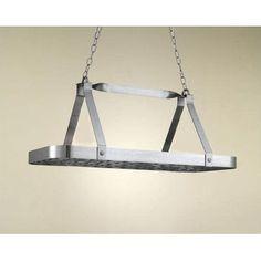 Hi-Lite Sterling Rectangular Hanging Pot Rack Accent Finish: Brushed Gold Topcoat, Base Finish: Powder Coat Rust