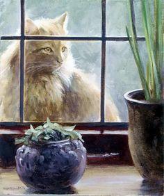 Paul Monteagle Nature Paintings, Cat Paintings, Cat Window, Cat Hat, Domestic Cat, Art Images, Images Photos, Cat Love, Creative Art