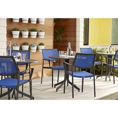 Largo Mediterranean Blue Mesh Dining Chair | Crate and Barrel